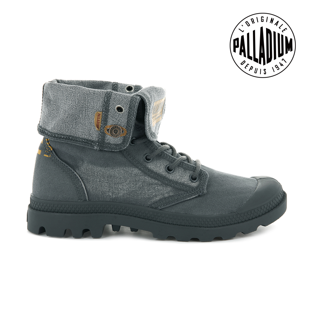 Palladium PALLADENIM BAGGY單寧帆布靴-女-鐵灰