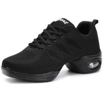 [GUREITOJP] スニーカーレディース ダンスシューズ レースアップ メッシュ 厚底靴 ランニング ウォーキング 軽量 通気性 競技 練習 ローカット ジム ダイエットシューズ 社交ダンス ヒップホップ 疲れにくい 婦人靴 黒白
