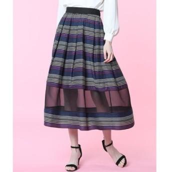 ef-de / エフデ 《Maglie par ef-de》マルチボーダーオーガンジースカート