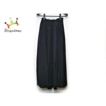 プリーツプリーズ ロングスカート サイズ3 L レディース 美品 黒 マキシ丈/シースルー/プリーツ 新着 20200306