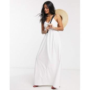 エイソス マキシドレス レディース ASOS DESIGN cami bow front maxi sundress in white [並行輸入品]