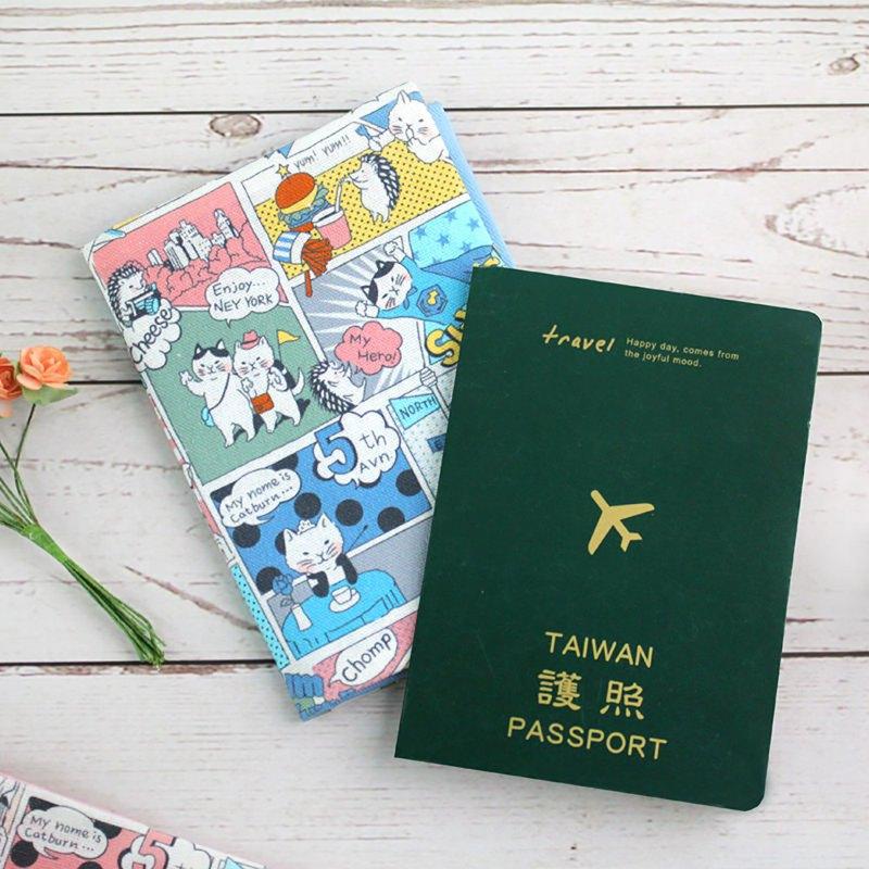 台灣花布護照套/護照包/護照夾-漫遊紐約貓咪