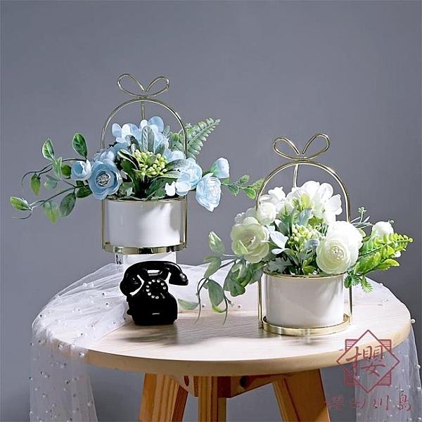 假花仿真花擺件花瓶套裝干花束花藝擺設裝飾【櫻田川島】