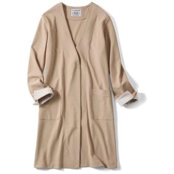 さっとはおってきちんと見えする ほどよい厚みのカットソーロングジャケット〈ベージュ〉 リブ イン コンフォート フェリシモ FELISSIMO【送料無料】