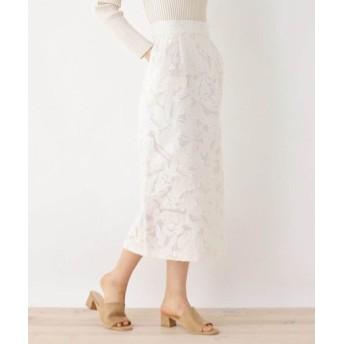 OPAQUE. CLIP/オペーク ドット クリップ 【洗える】ボタニカルジャガード ロングナロースカート オフホワイト(003) 40(L)