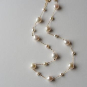 贅沢とっておきパールのステーションネックレス/湖水真珠
