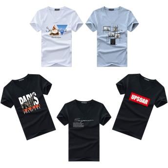 Tシャツ メンズ 半袖 綿100% インナーシャツ 5枚組 肌着 黒白 vネック L