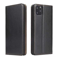 Fierre Shann 真皮紋 iPhone 11 Pro Max (6.5) 錢包支架款 磁吸側掀 手工PU皮套保護殼