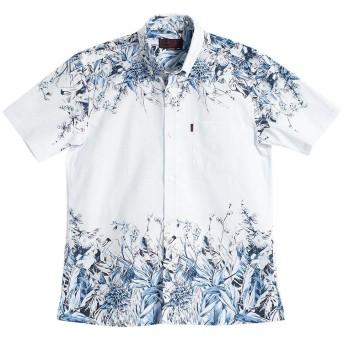 [MAJUN (マジュン)] 国産シャツ かりゆしウェア アロハシャツ メンズ 結婚式 半袖シャツ ボタンダウン ラグジュアリーパネル ホワイト×ネイビー 4L