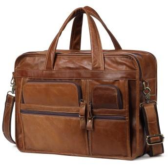 メンズ財布 本革バッグ14インチのラップトップのための男性のブリーフケースラップトップバッグレザー (Color : Yellow Brown, Size : S)