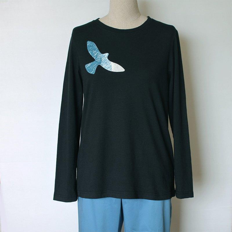 飛翔老鷹長袖T-shirt(黑色)