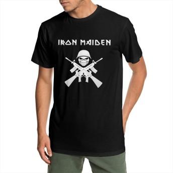 IRON MAIDEN アイアン・メイデン ロゴ メンズ 半袖 Tシャツ クルーネック 薄手 無地 カジュアル スポーツ オシャレ シンプル デイリーウエア レディース 大きいサイズ