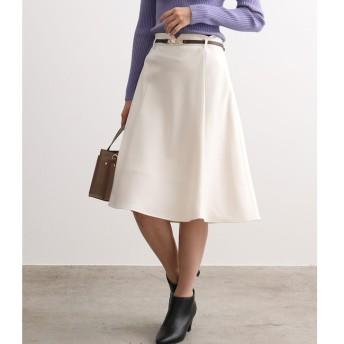 【ビス/ViS】 【EASY CARE】ウォッシャブルフラノ合皮ベルト付フレアスカート