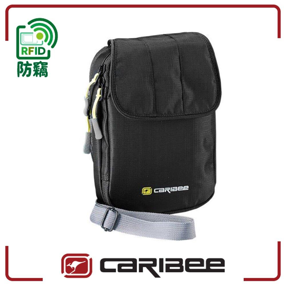 【Caribee 澳洲 RFID 防盜側背護照錢包《黑》】CB-1414/護照包/側背包/證件夾/護照夾/防竊