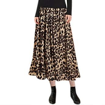 ファッショナブルな女性の秋と冬のカジュアルなヒョウ柄の金色のベルベットのAラインスカート2020新しいスカートハイウエストスカート チュールスカート ふんわり無地優雅 おしゃれ