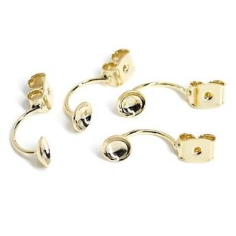 再販【4個入り】約19mm/約5mmお椀付き真鍮製光沢ゴールドピアスキャッチ金具、パーツ