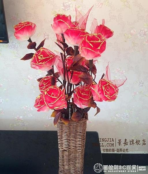 天然材質 擺放裝飾花歐式 客廳玄關裝飾花 茶幾桌面葉脈玫瑰花 圖拉斯3C百貨