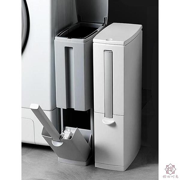 日本衛生間垃圾桶家用窄縫馬桶刷一體長方形浴室紙簍【櫻田川島】