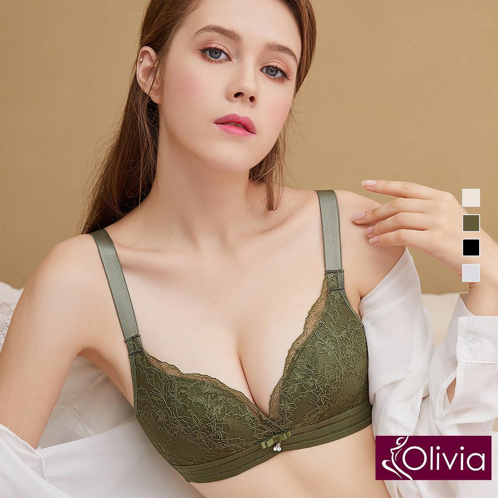 內衣 Olivia 無鋼圈輕薄透裸感水晶杯內衣-軍綠色