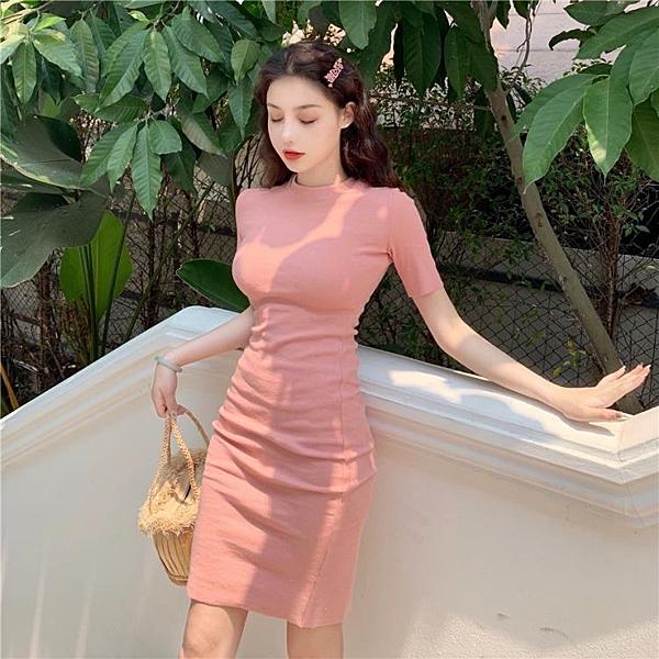 性感緊身短裙優雅性感夏季圓領很仙的裙子氣質小清新高腰復古緊身連身裙女短裙 嬡孕哺