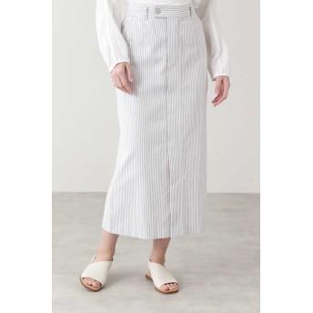 HUMAN WOMAN ◆≪Japan Couture≫パイルドビースカート ひざ丈スカート,シロ×グレー3