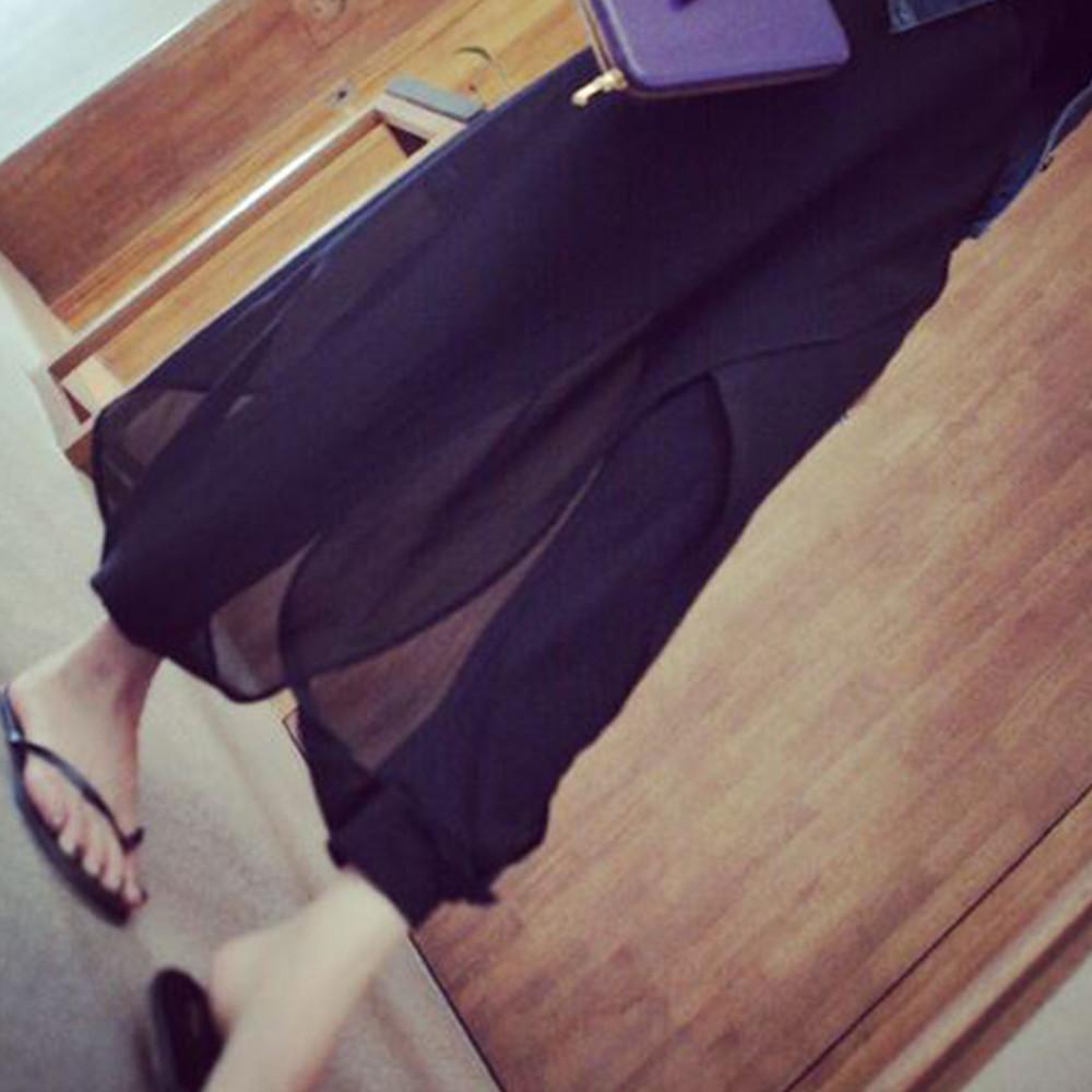 褲裙 Olivia 韓風中大碼假兩件雪紡開叉拼接哈倫褲-黑色