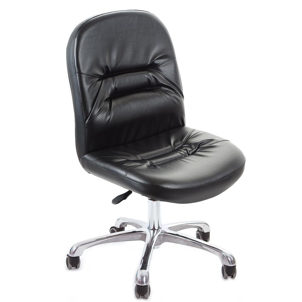 GXG 短背皮面 無扶手電腦椅 (鋁合金腳) TW-1004 LU
