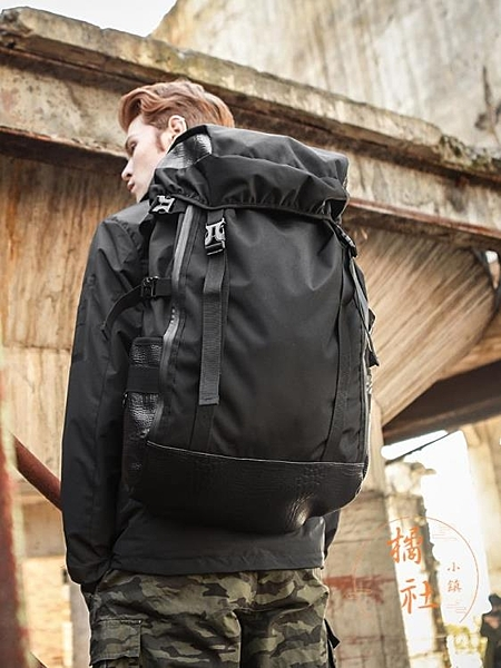 戶外登山背包黑色後背包男士旅行背包休閒超大容量行李包【橘社小鎮】