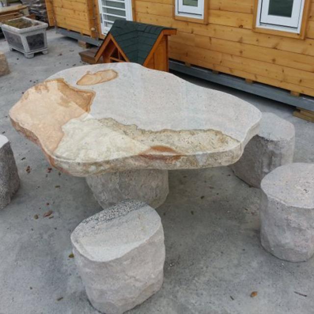 1+6石桌椅組 - 幻彩紅仿自然型