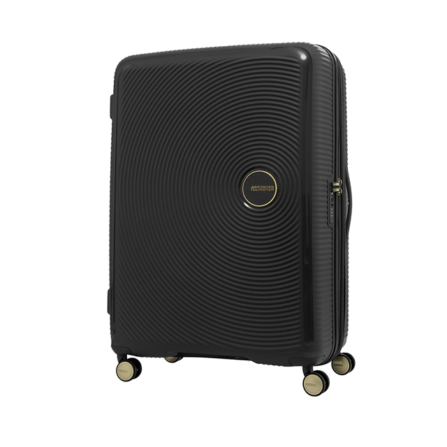 AT美國旅行者 30吋Curio立體唱盤防盜拉鍊硬殼可擴充TSA行李箱(黑金)