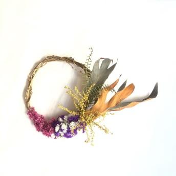 送料無料☆Driedflower wreathe ドライフラワーリース ミモザ×スターチス インテリアフラワー 壁掛けインテリア ドアリース ホワイトデー/m10