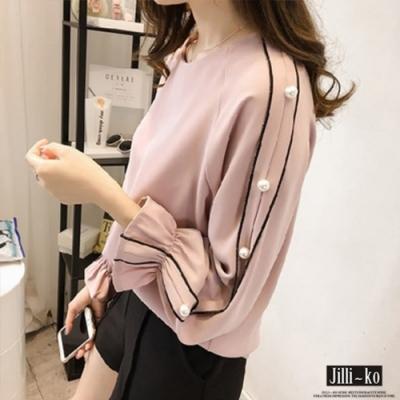 JILLI-KO 韓版喇叭袖釘珠雪紡上衣- 粉色