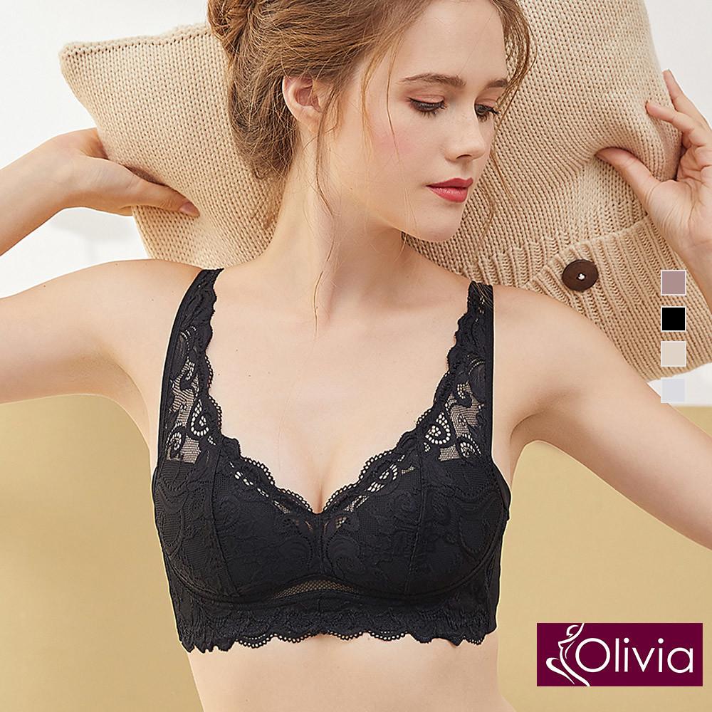 內衣 Olivia 無鋼圈雙U彈力網刺繡蕾絲內衣-黑色