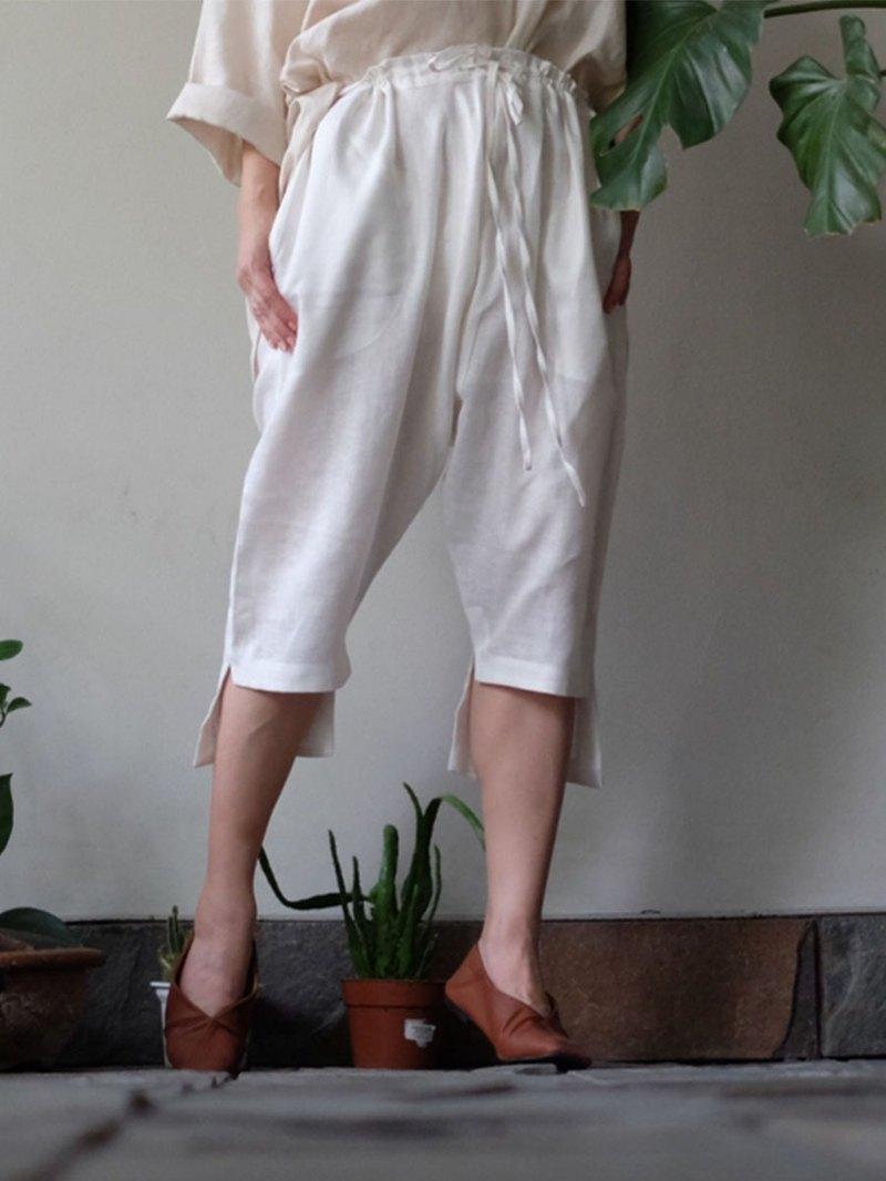 不對稱褲子白