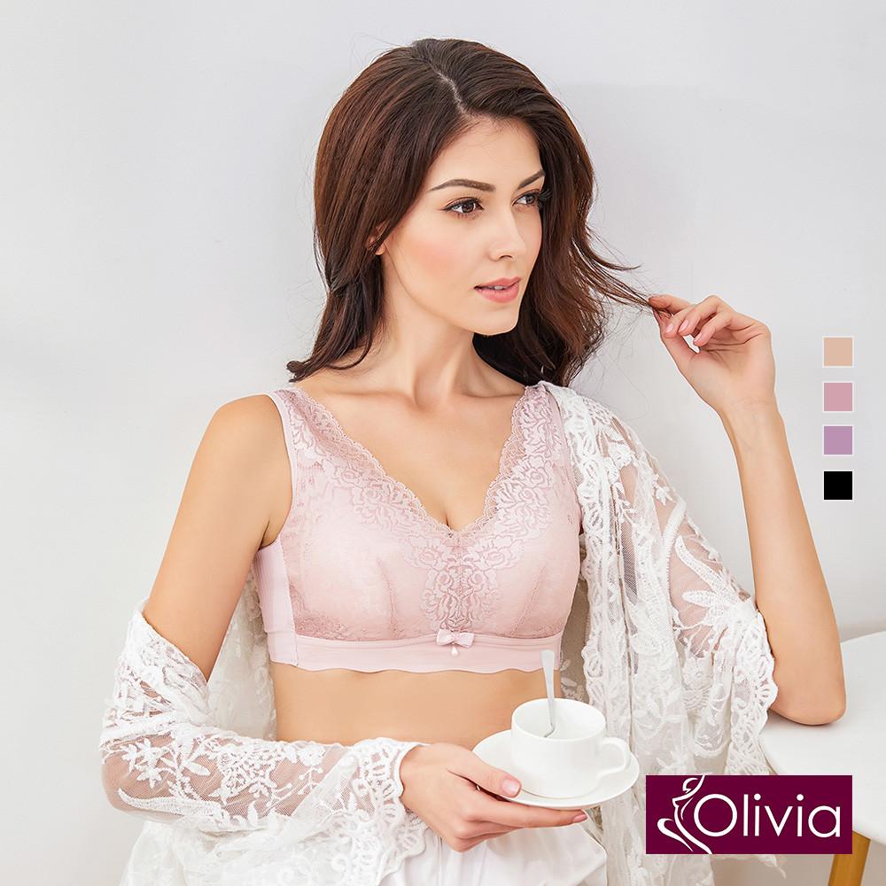 內衣 Olivia 無鋼圈凡爾賽蕾絲內衣-粉色