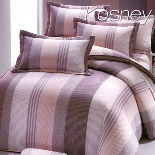 《KOSNEY  優美派對 》雙人100%活性精梳棉六件式床罩組台灣製