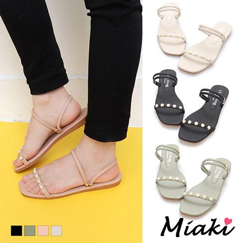 【Miaki】涼鞋-韓風珍珠2穿平底拖鞋 (現貨+預購)