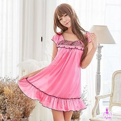 甜美桃紅柔緞小蓋袖式性感睡衣 愛的蔓延 NA16020151