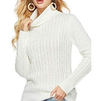 服装やアクセサリー 女性の服装 セーター CZサイズ:S(ホワイト)、女性のタートルネックセーターニット尋シャツスレンダーセーター (色 : 白, サイズ : XL)