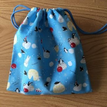 ペンギンの給食袋(水色)