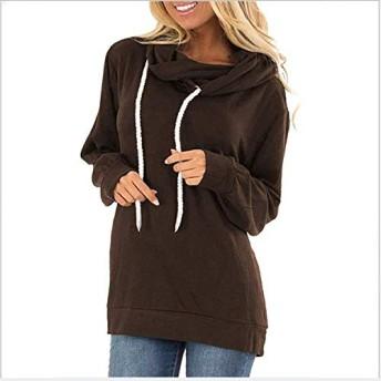 健康と美容 女性の服装 シャツ CZ女性巾着フード付きのスエットシャツ (色 : Coffee, サイズ : 3XL)