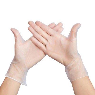 爆款-100只食品操作一次性PVC無粉手套透明干活防水餐飲美容手膜烘焙#口罩#手套#防護用品#工業用