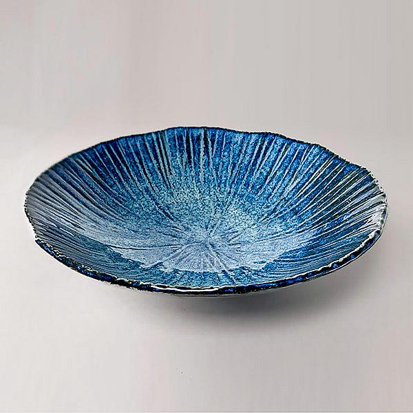 日本陶瓷 花紺十草 盛缽-24cm 餐盤 餐碟 餐碗 陶盤 陶缽