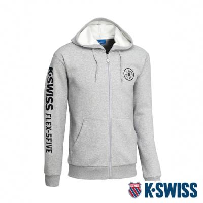 K-SWISS Branding Logo刷毛連帽外套 男  淺灰