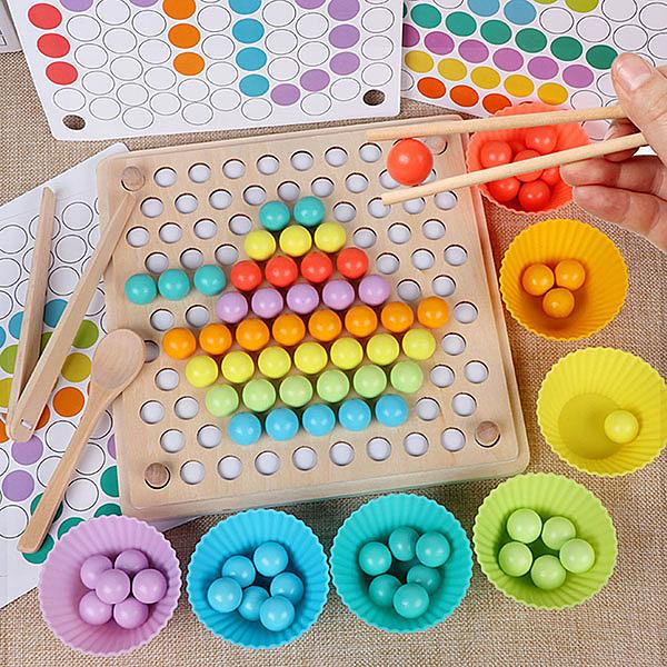 【888便利購】木製夾珠子拼圖板(顏色識別/手眼協調/餐具學習)