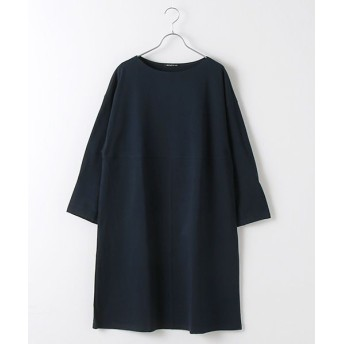 MARcourt/マーコート boat neck front seemed OP navy FREE