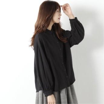 綿ビエラ丸襟シャツ ブラック M L LL