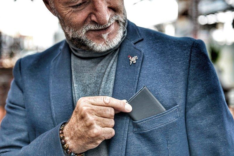 金屬皮革RFID卡夾(灰色)