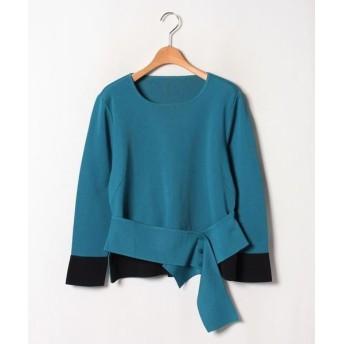 LAPINE ROUGE/ラピーヌ ルージュ 16Gミラノリブ 配色使いセーター グリーン 44