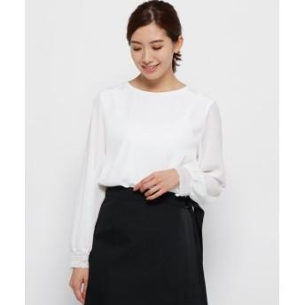 (Modify/モディファイ)セミダルデシン袖口レースシャツ/レディース ホワイト(002)
